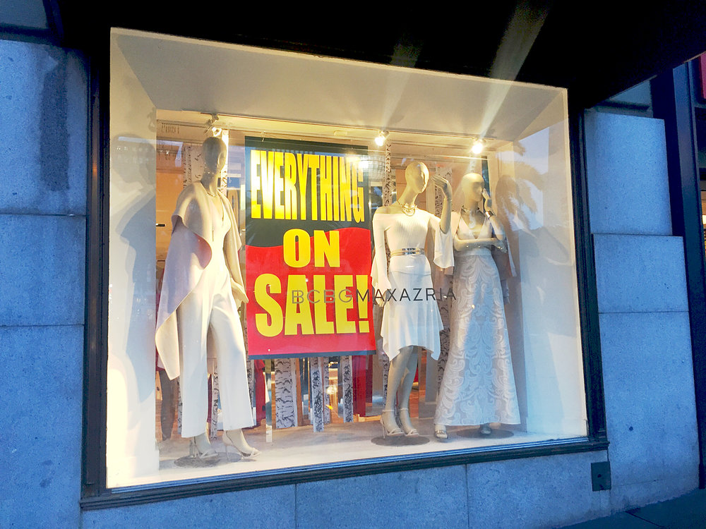 The window at BCBG on Powell Street in Union Square.