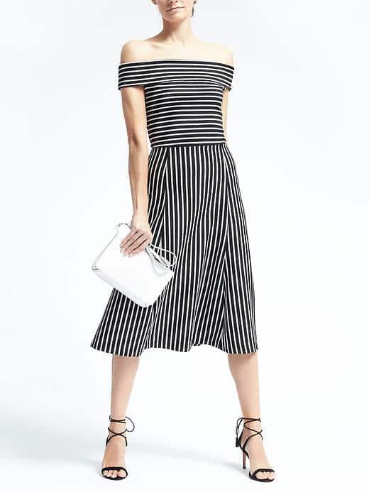 "<a href=""http://bananarepublic.gap.com/browse/product.do?vid=3&pid=648495002"">Banana Republic Striped Off-the-Shoulder Midi Dress</a>, $128"