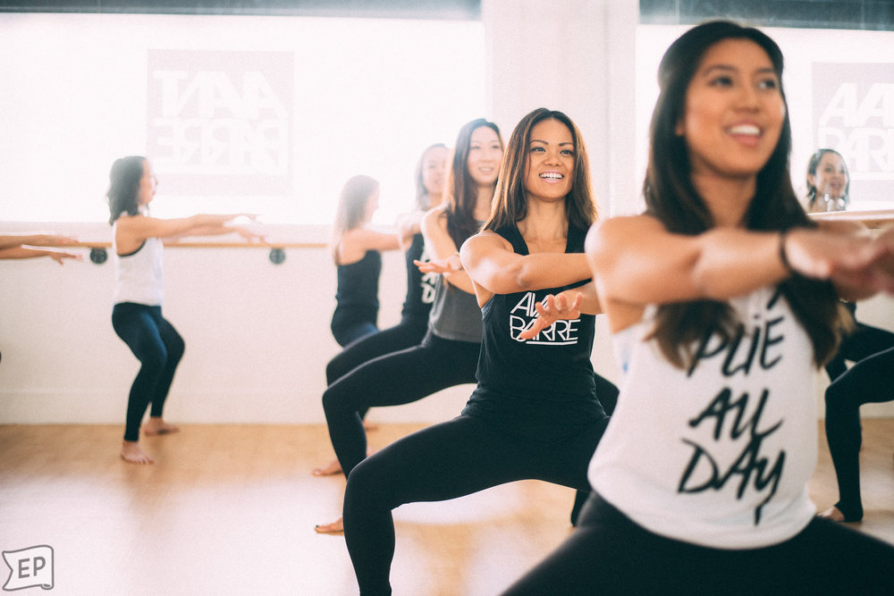 These women probably aren't pregnant, but they're definitely in a barre class. Photo: Encarnacion Photography