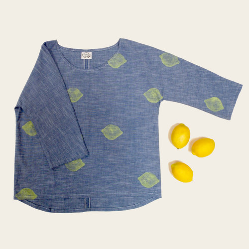 Lemon Long Sleeve Chambray Top, $126