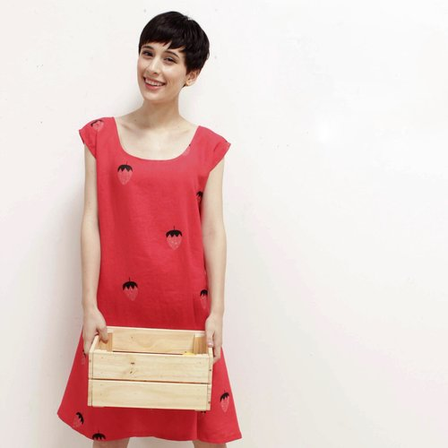 Strawberry Linen Dress, $140