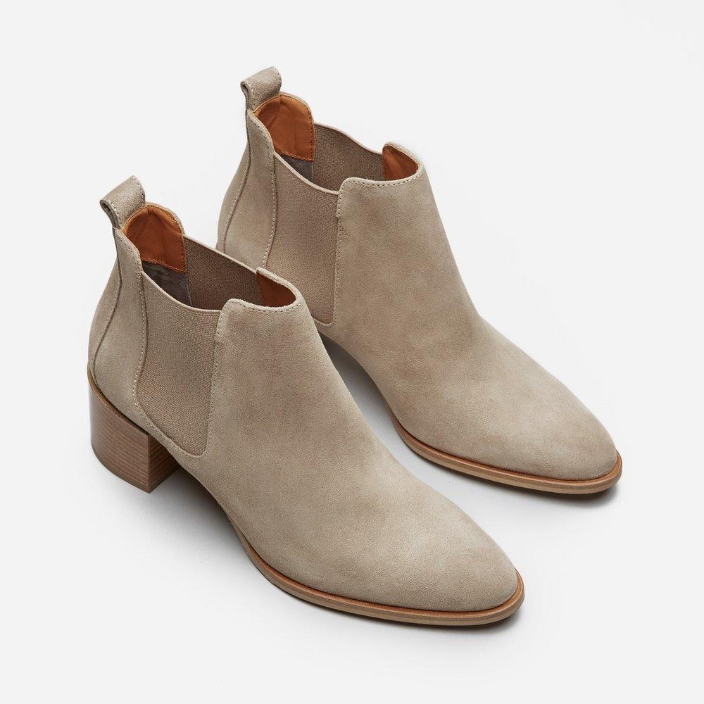 <h2><i>Everlane Suede Heel Boot, $225</h2></i>
