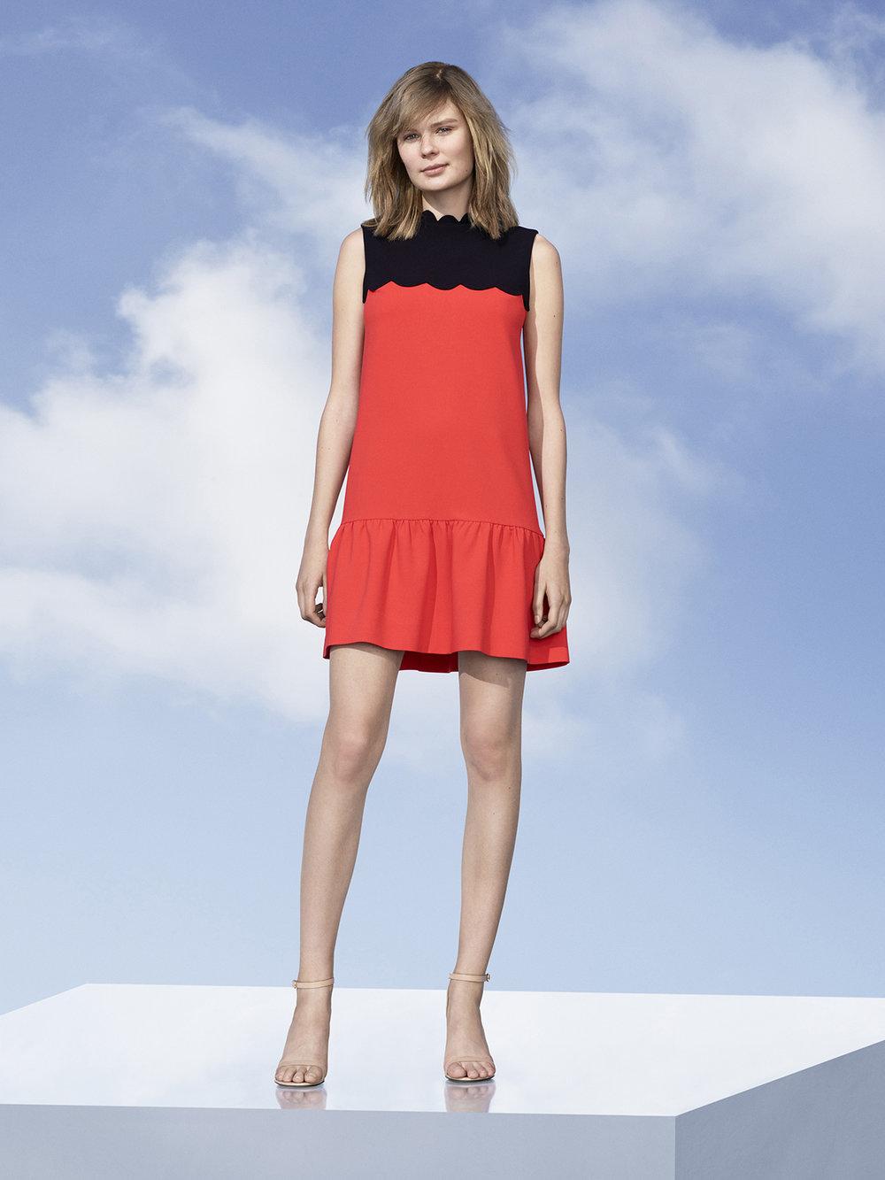 Orange Drop Waist Scallop-Trim Dress, $40