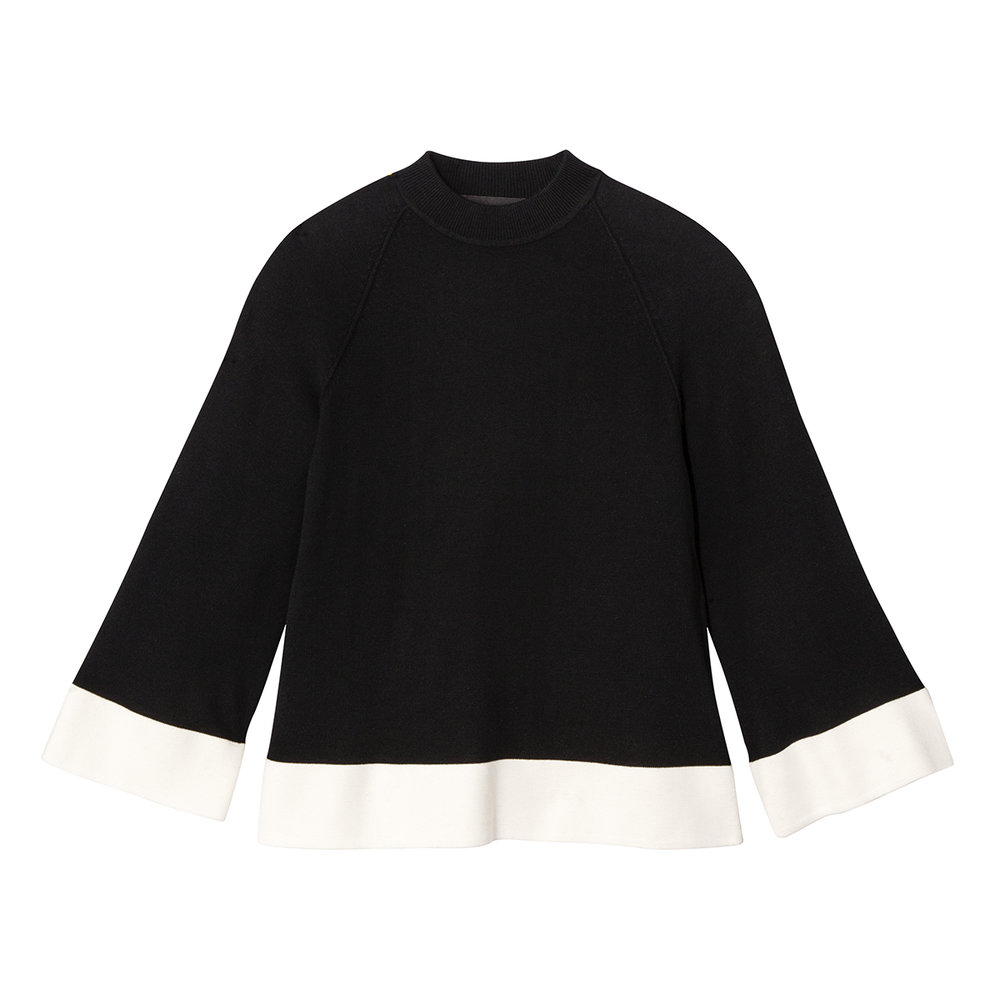 Black and White High Neck Sweater Top, $28