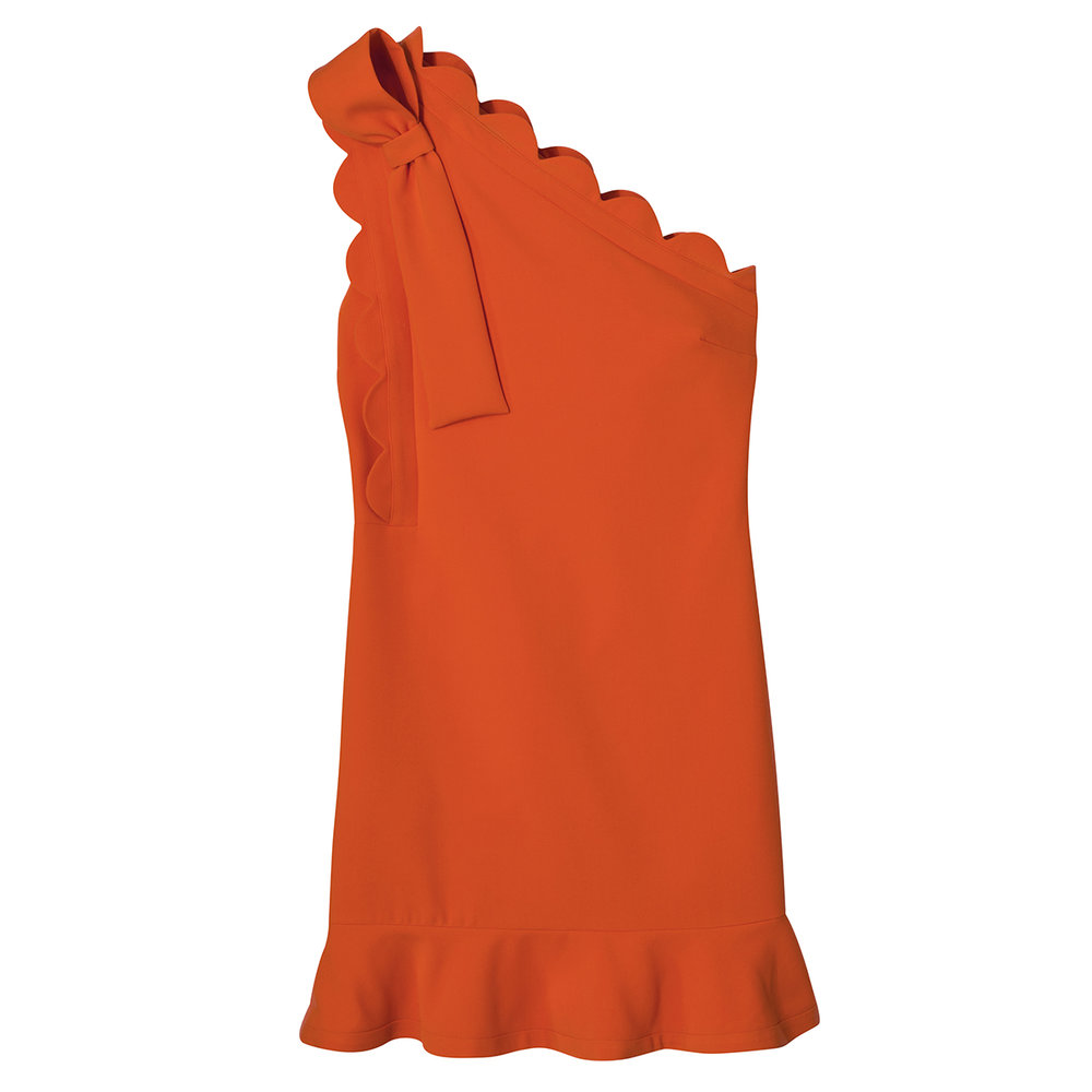 Orange One-Shoulder Dress with Bow and Scallop Trim, $40
