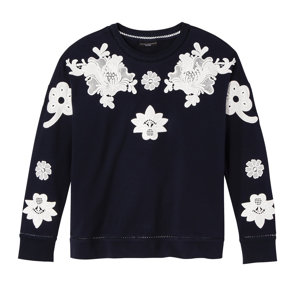 Navy and White Floral Lace Appliqué Top, $30