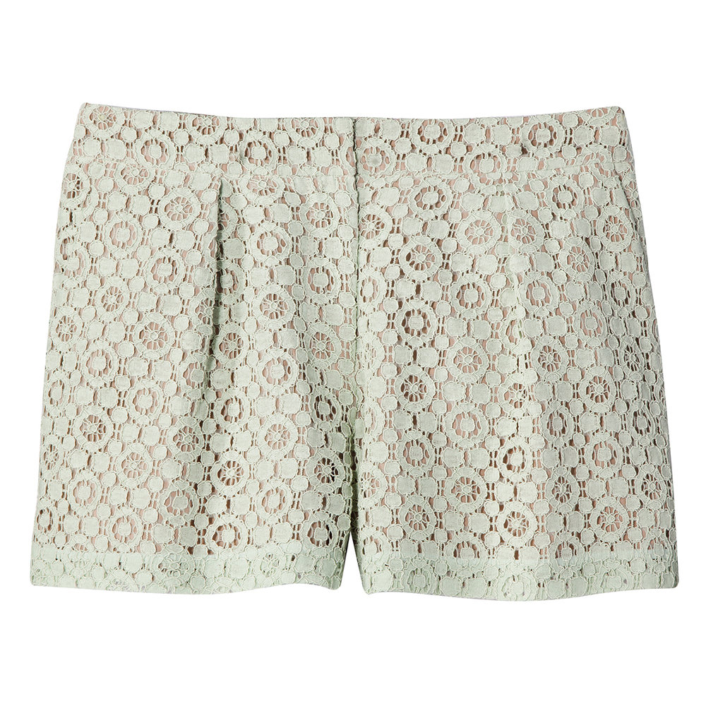 Mint Green Lace Shorts, $28