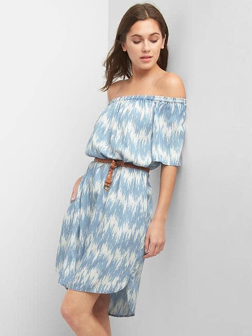 Off-Shoulder Belt Dress, $69.95