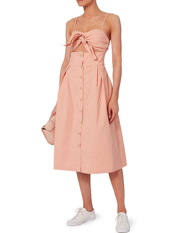 Sea Pink Tie-Front Cutout Dress, $445