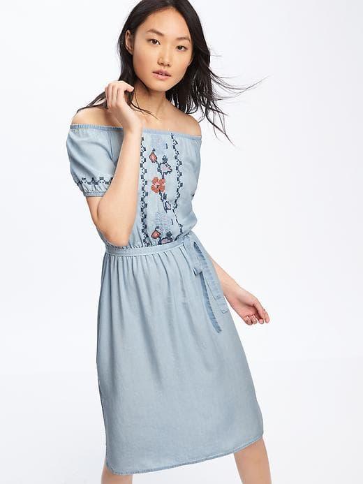 Embroidered Off-Shoulder Dress, $44.94