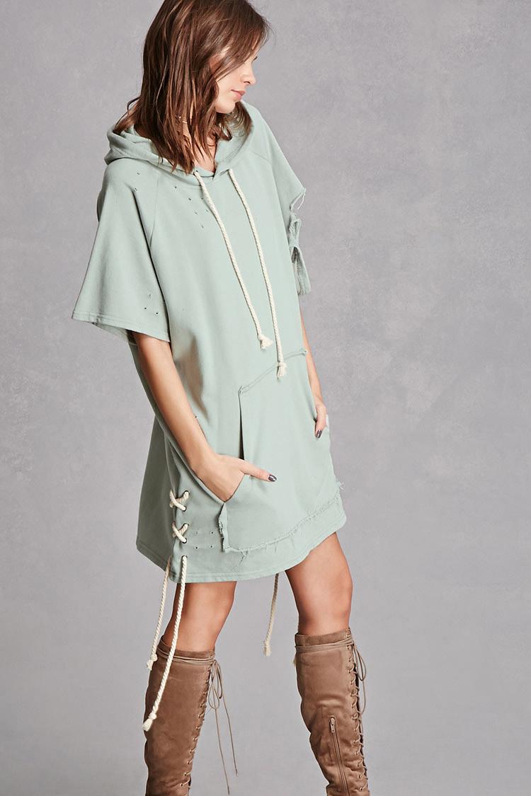 Distressed Hoodie Dress, $46.40
