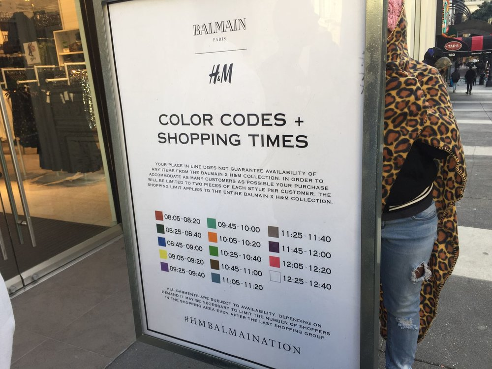The Balmain x H&M entry time table