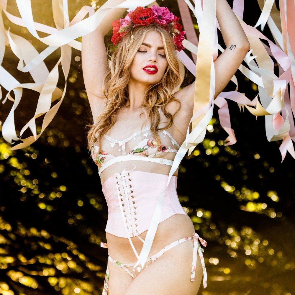 Evgenia Floralia Ribbon Corset, $278