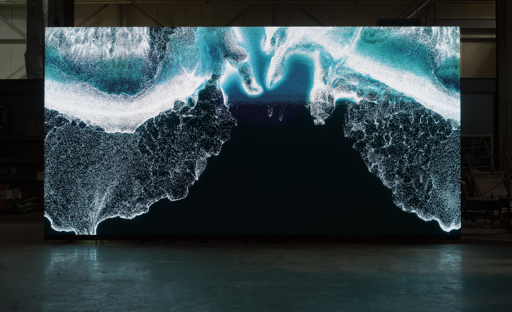"""Clifford Ross's """"Digital Wave 9"""" displayed on LED wall_1.jpg"""