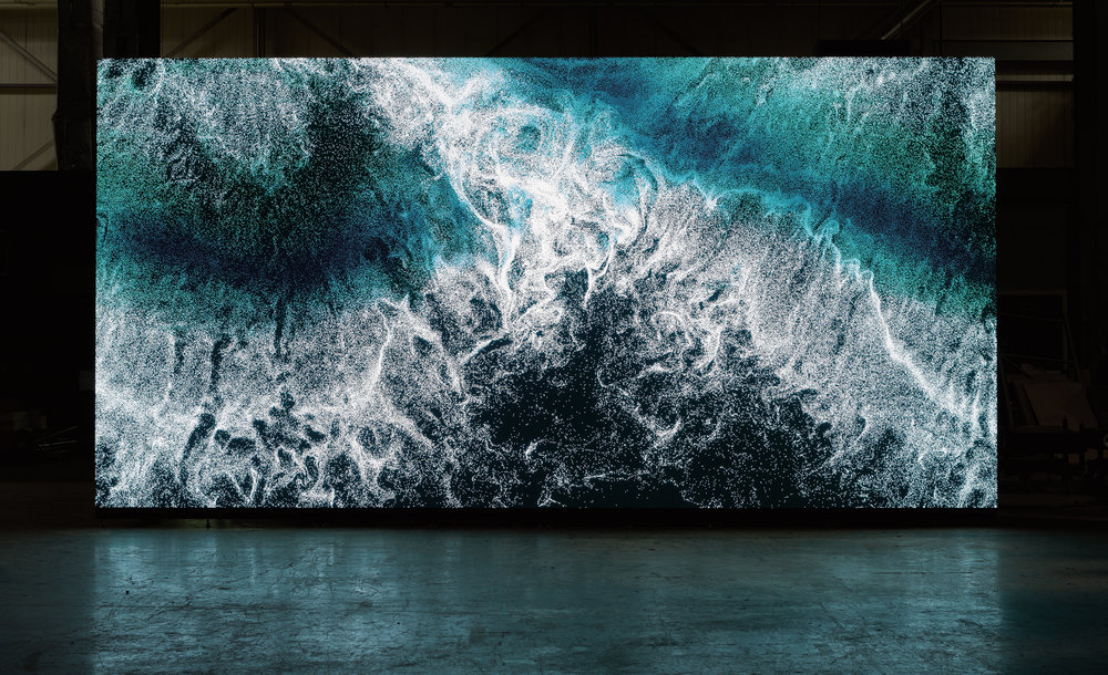 """Clifford Ross's """"Digital Wave 9"""" displayed on LED wall_2.jpg"""