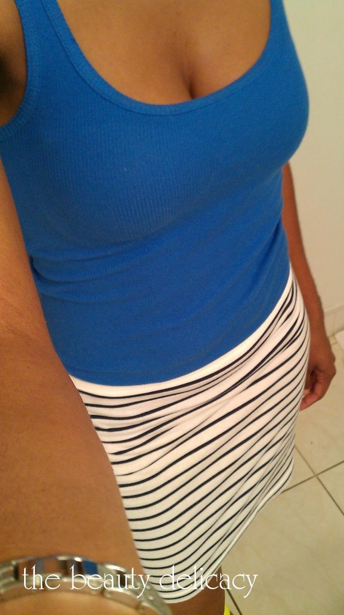 ootd blue stripes neon 2