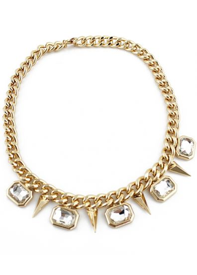 gold crystal rivet chain necklace si