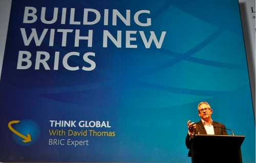 David Thomas talk about the BRICS during an international conference