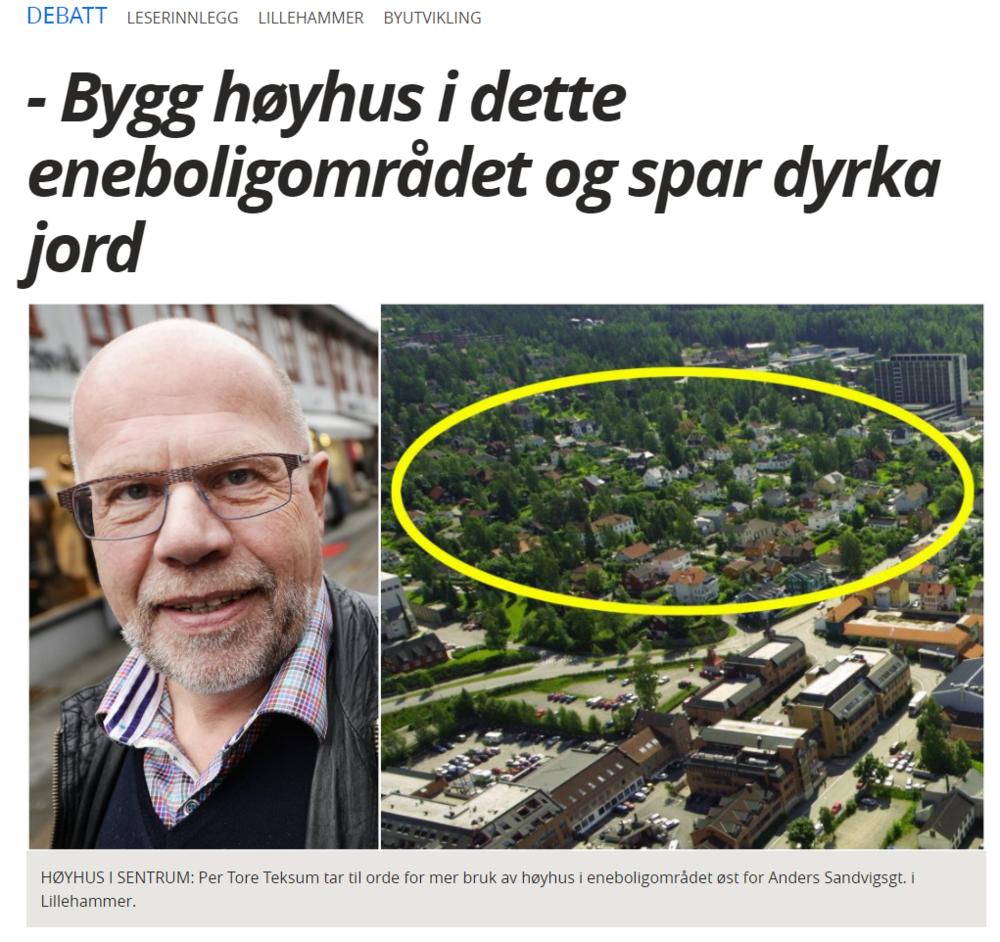 Per Tore uttaler seg om byfortetting i Lillehammer -