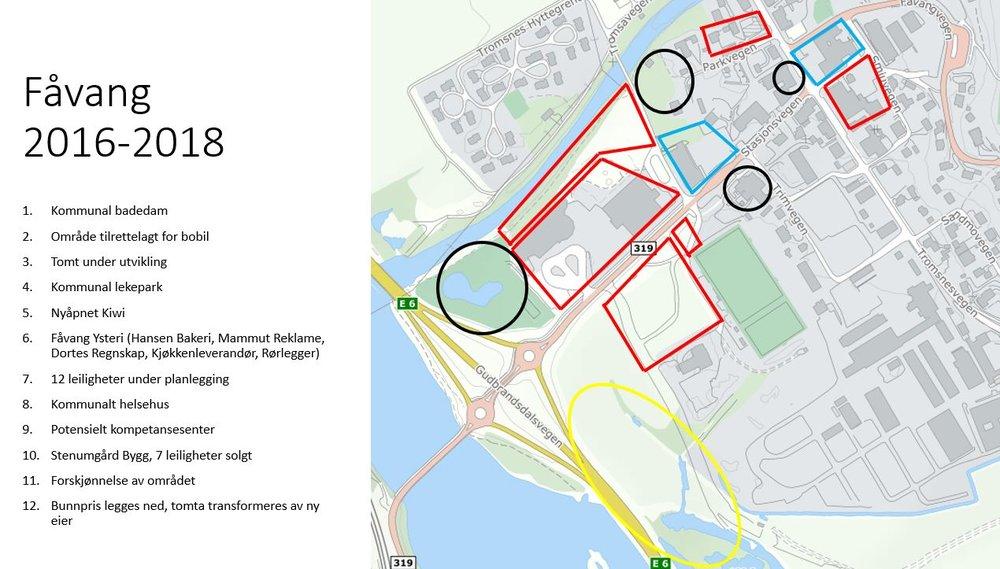 De røde, gule og blå boksene er områder hvor Åge og Per Tore har vært involverte. De svarte er kommunale områder.