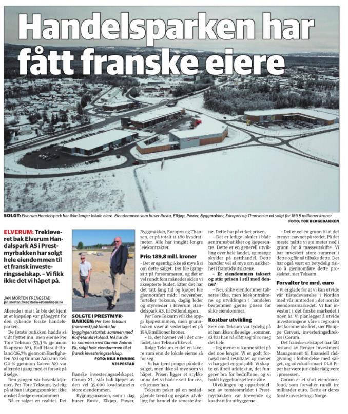Elverum Handelspark Har Fatt Franske Eiere Skarpsno