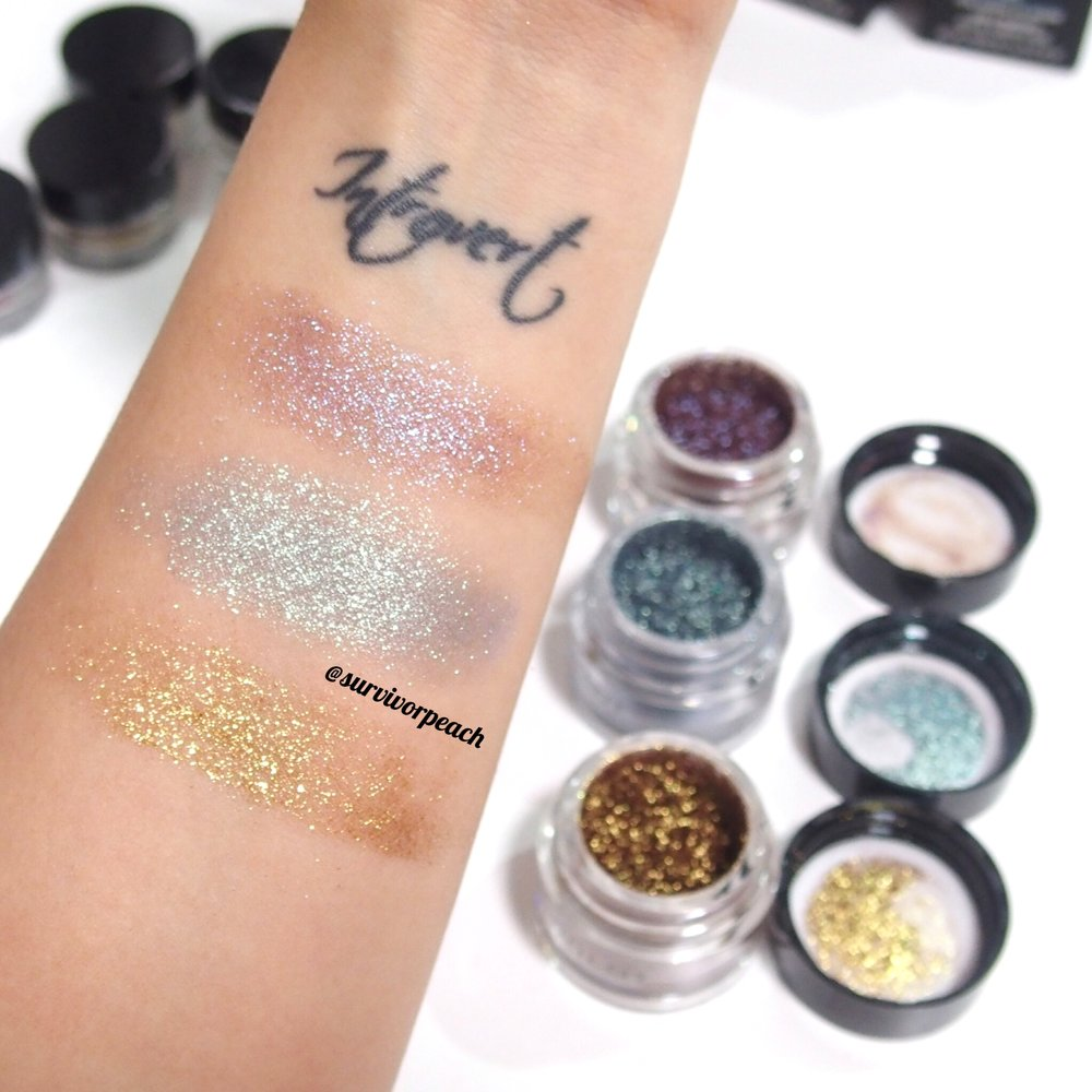 Inglot AMC pure pigment swatches
