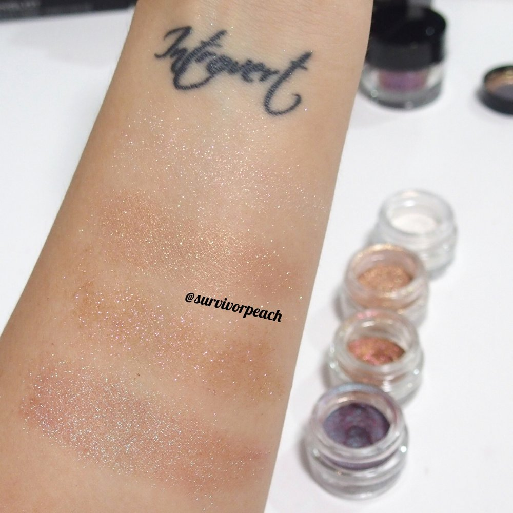 Inglot body sparkles swatches
