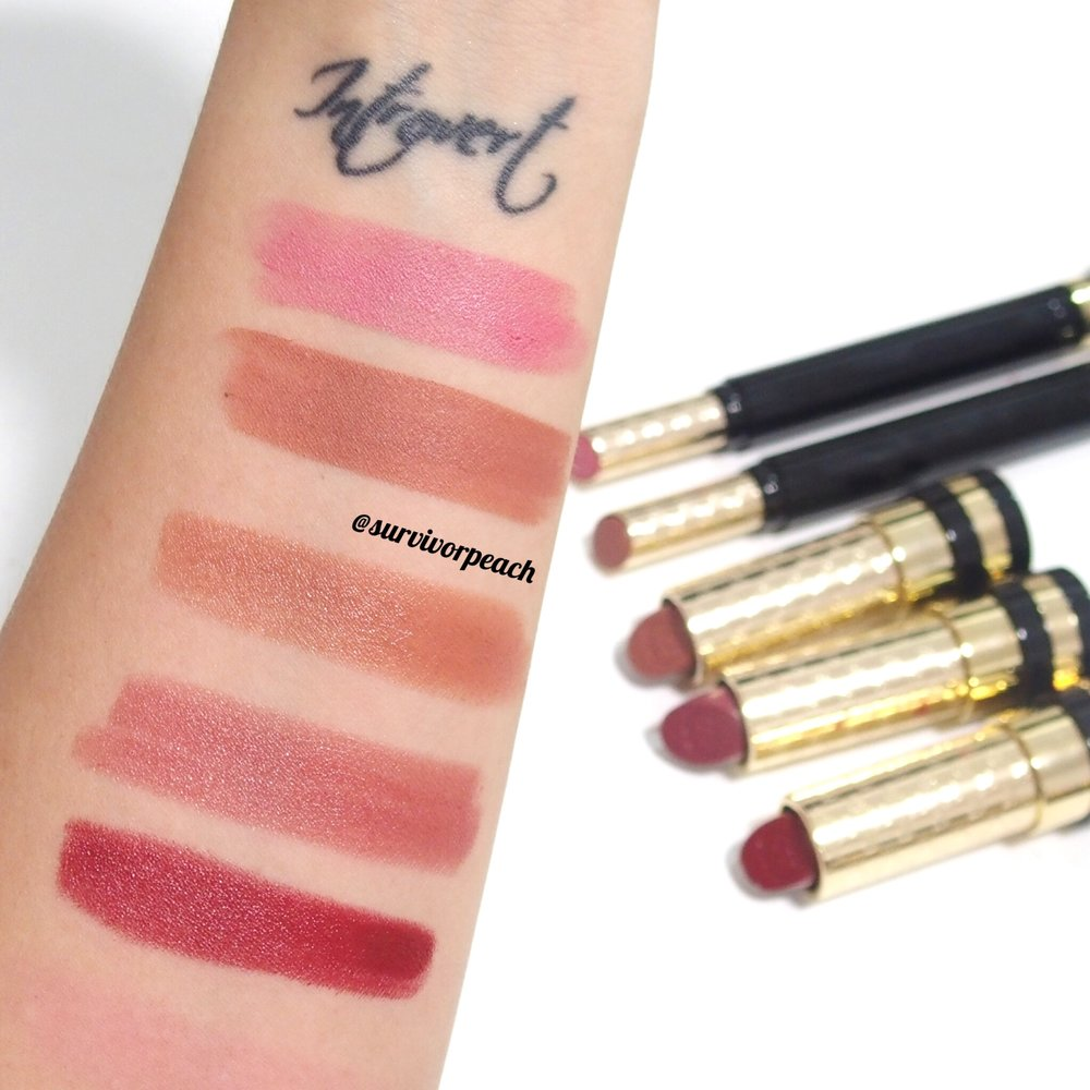 Swatches of the Sensuous Deep Matte lipstick in shades 210 Spring Rose and 220 Exposure and the Luxurious Moisture Rich lipstick in #330 #570 and #580.