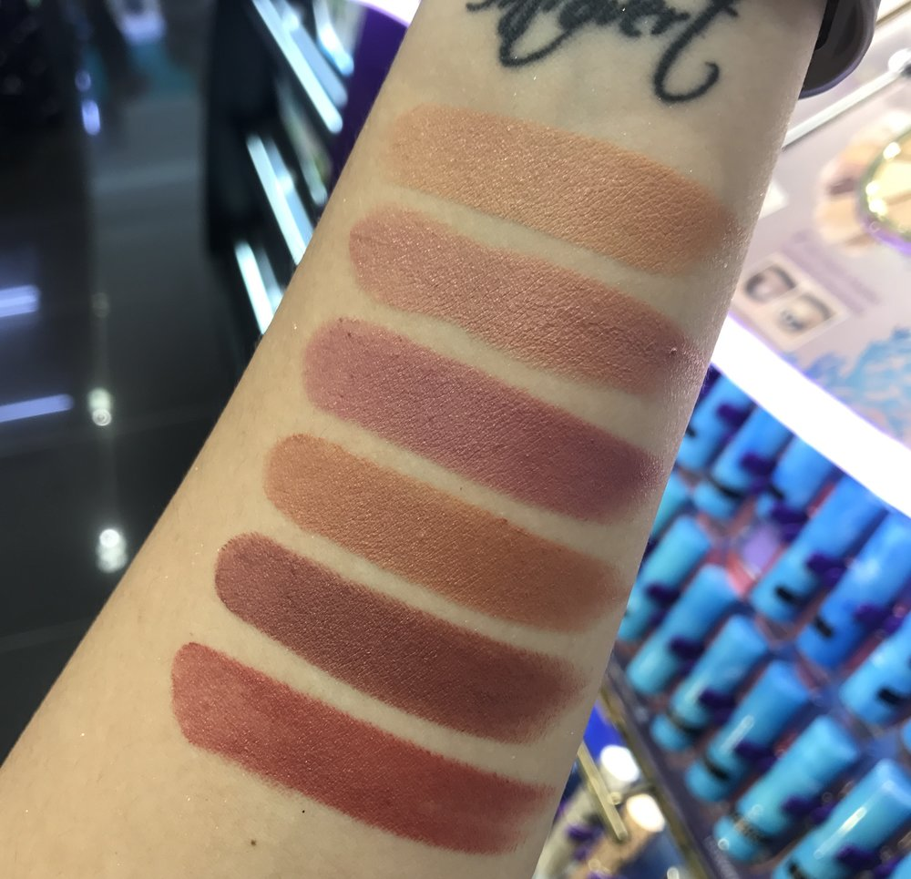 Swatches of the Tarte Color Splash Lipsticks