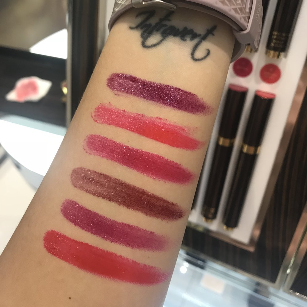 Swatches for the new Tom Ford lip Polishes for 2017