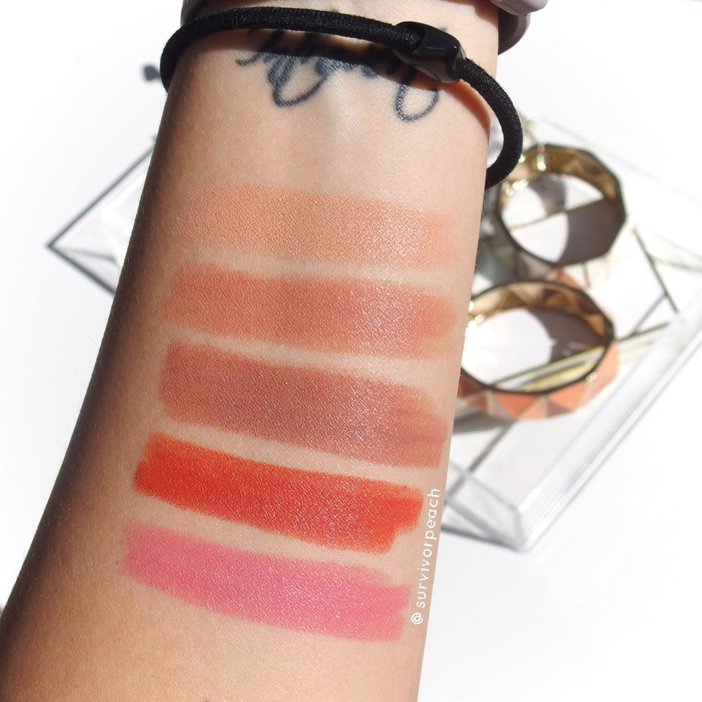 Swatches for the Toofaced Sweet Peach matte lipsticks