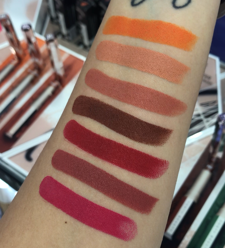 Fenty Beauty Mattemoiselle Lipsticks swatches  1.        Saw C  2.        Up to No Good  3.        S1ngle  4.        Shawty  5.        Madam  6.        Spanked  7.        Candy Venom