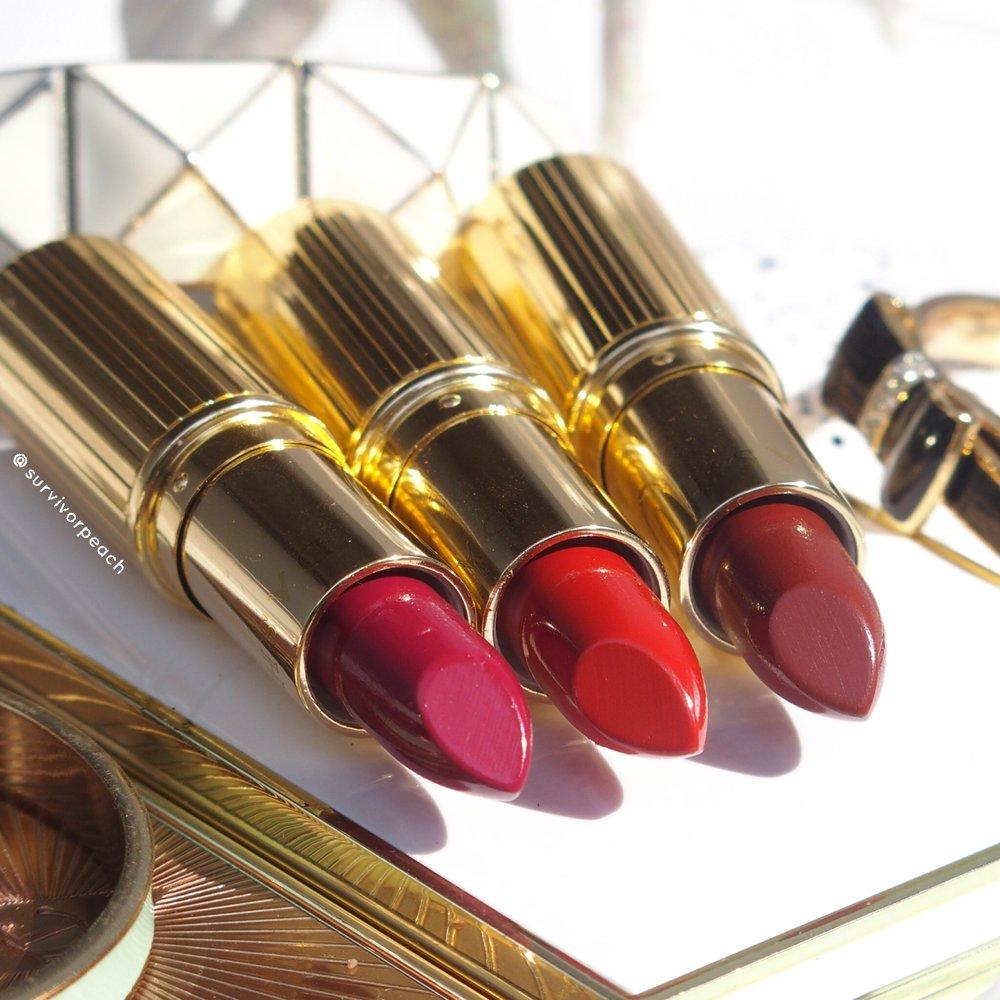 Dash Cosmetics Vintage Moisture Lipstick - Queen B, Ginger Brick, Dark Secret