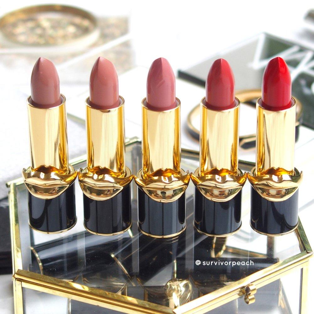 Pat McGrath Labs Luxe Trance Lipsticks in shades Donatella, Valetta, Sextrology, Tropicalia, and Mcgrath Muse
