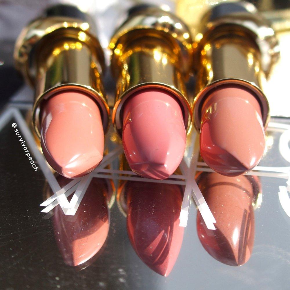 Pat McGrath Labs Luxe Trance Lipsticks in shades Donatella, Valetta, Sextrology