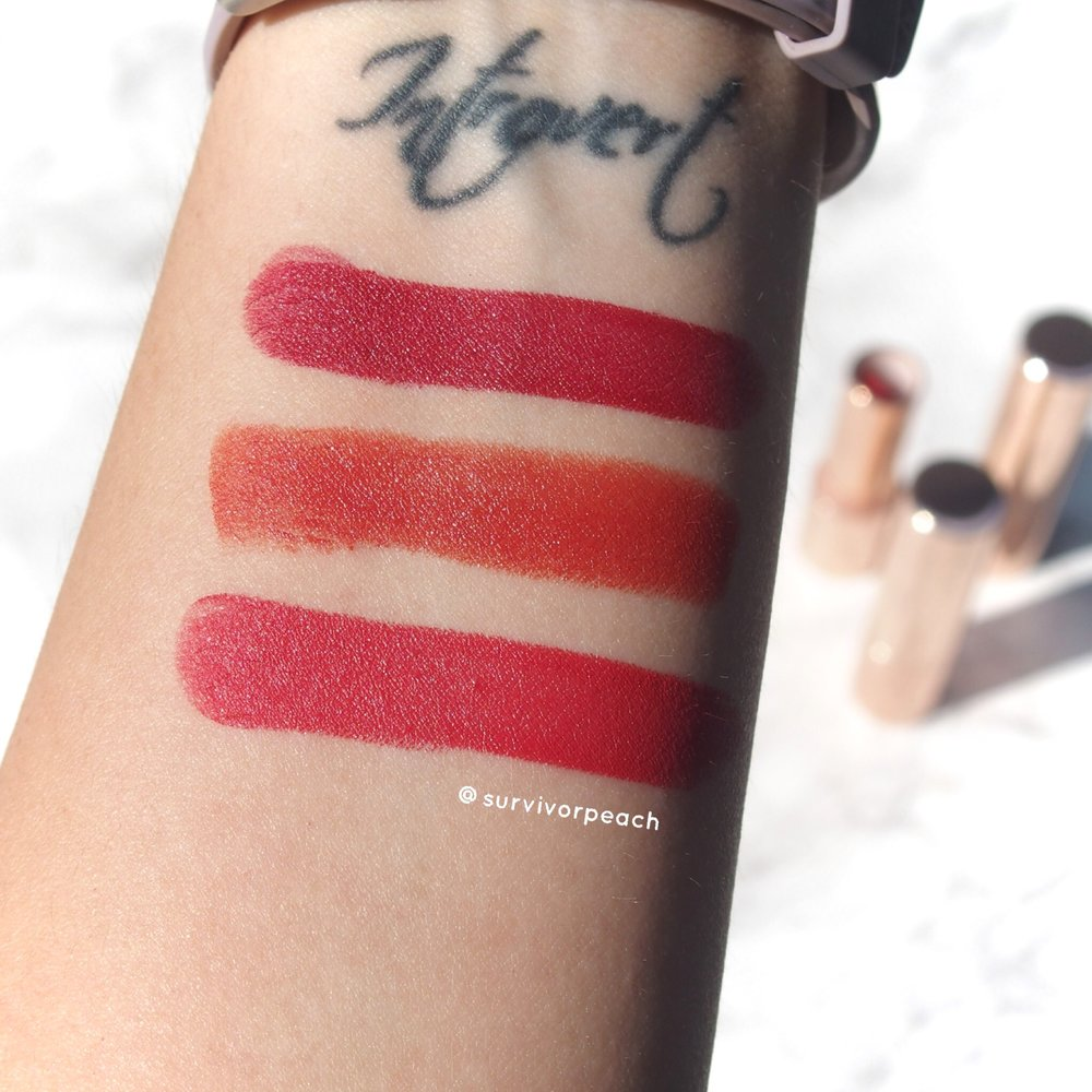 Swatches of the colourpop Lux Lipsticks: Liquid courage, Foolish, On repeat.