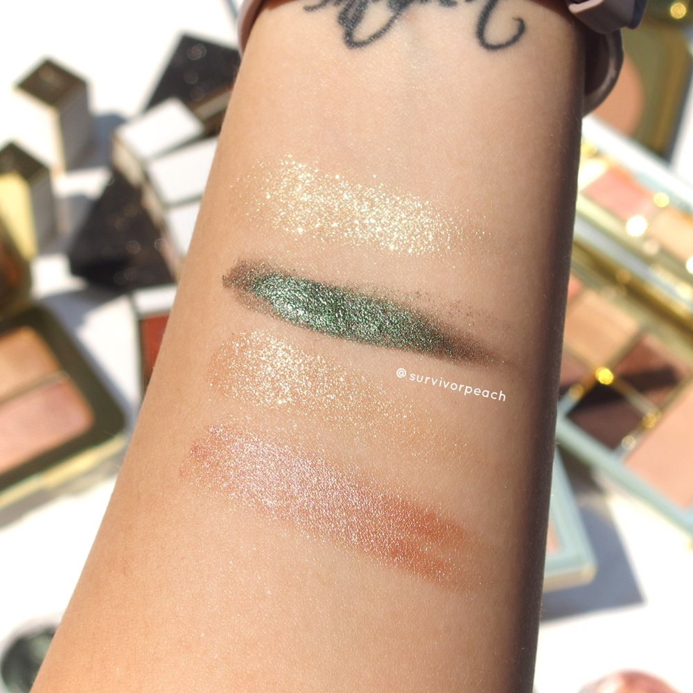 Swatches of the Tomford Cream to Powder eyeshadow duo in shade Emerald Isles and Golden Peach