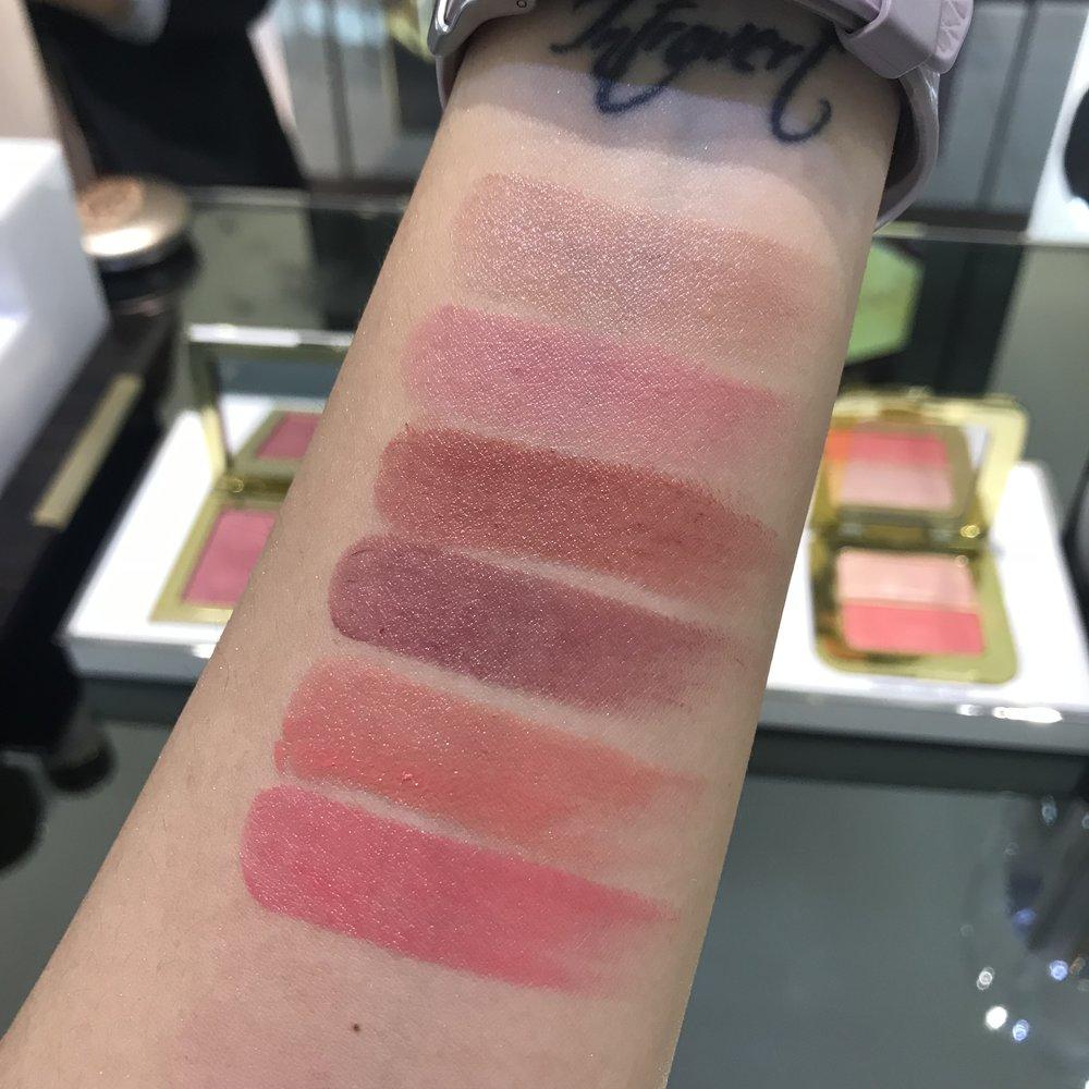 Tomford Ultra Shine Lip color swatches  Bare  Delectable  Nubile  Luscious  Lavish  Exuberant
