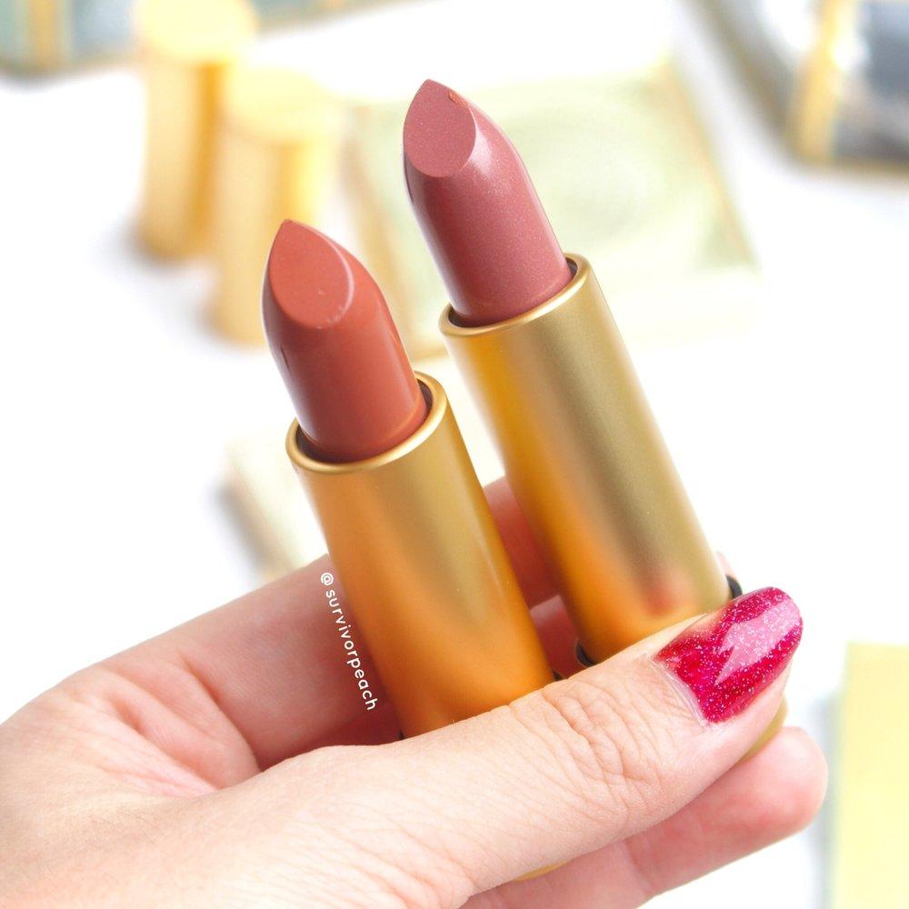 MACxPadma Apricot Gold and Sunset Rose Lipsticks