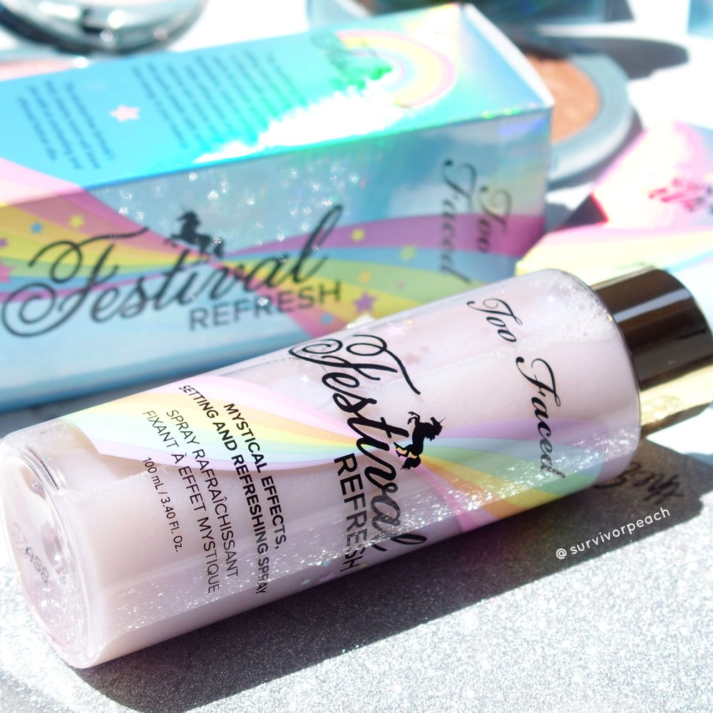 Toofaced Festival Refresh Mystical Effects Setting and Refreshing Spray
