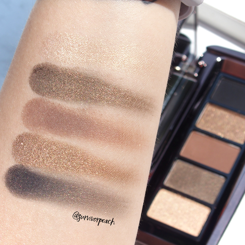 Closeup swatches of the Hourglass Graphik Eyeshadow Palette Vista