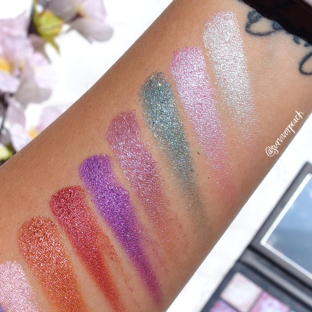 Huda Beauty Gemstone Obsessions palette swatches