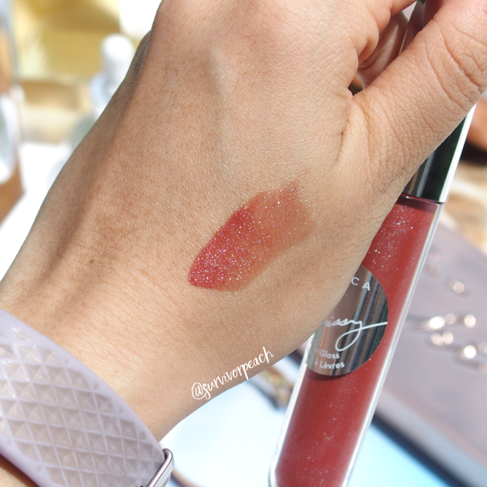 Becca x Crissy Taigen collab glow gloss in Beach Nectar swatch