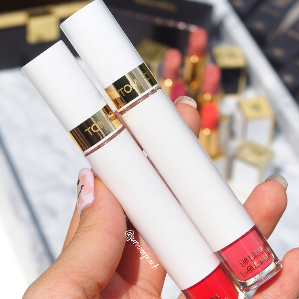 Tom Ford Soleil Lip Lacquer Liquid Tint In Ecstasy and La Vie En Rouge.