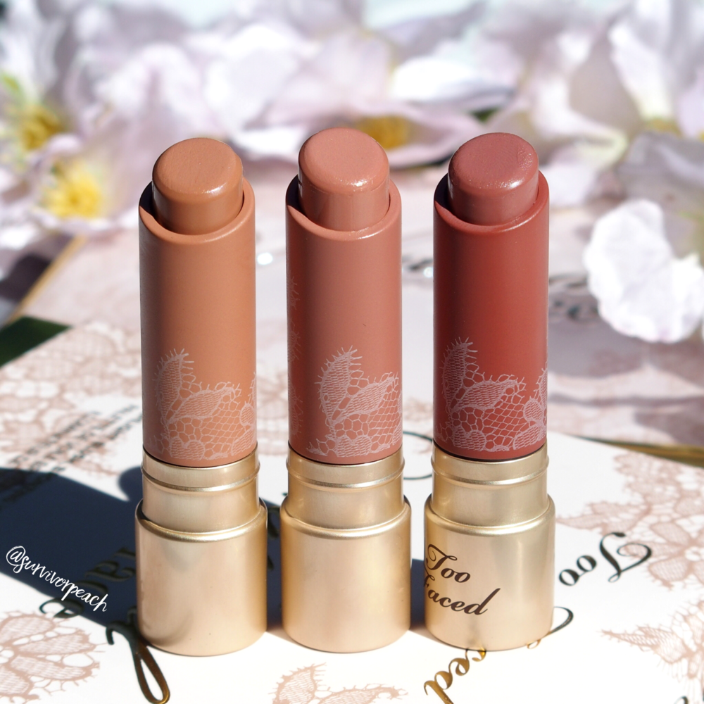 Toofaced Natural Nudes lipsticks in Skinny Dippin, Birthday Suit, and Strip Search.