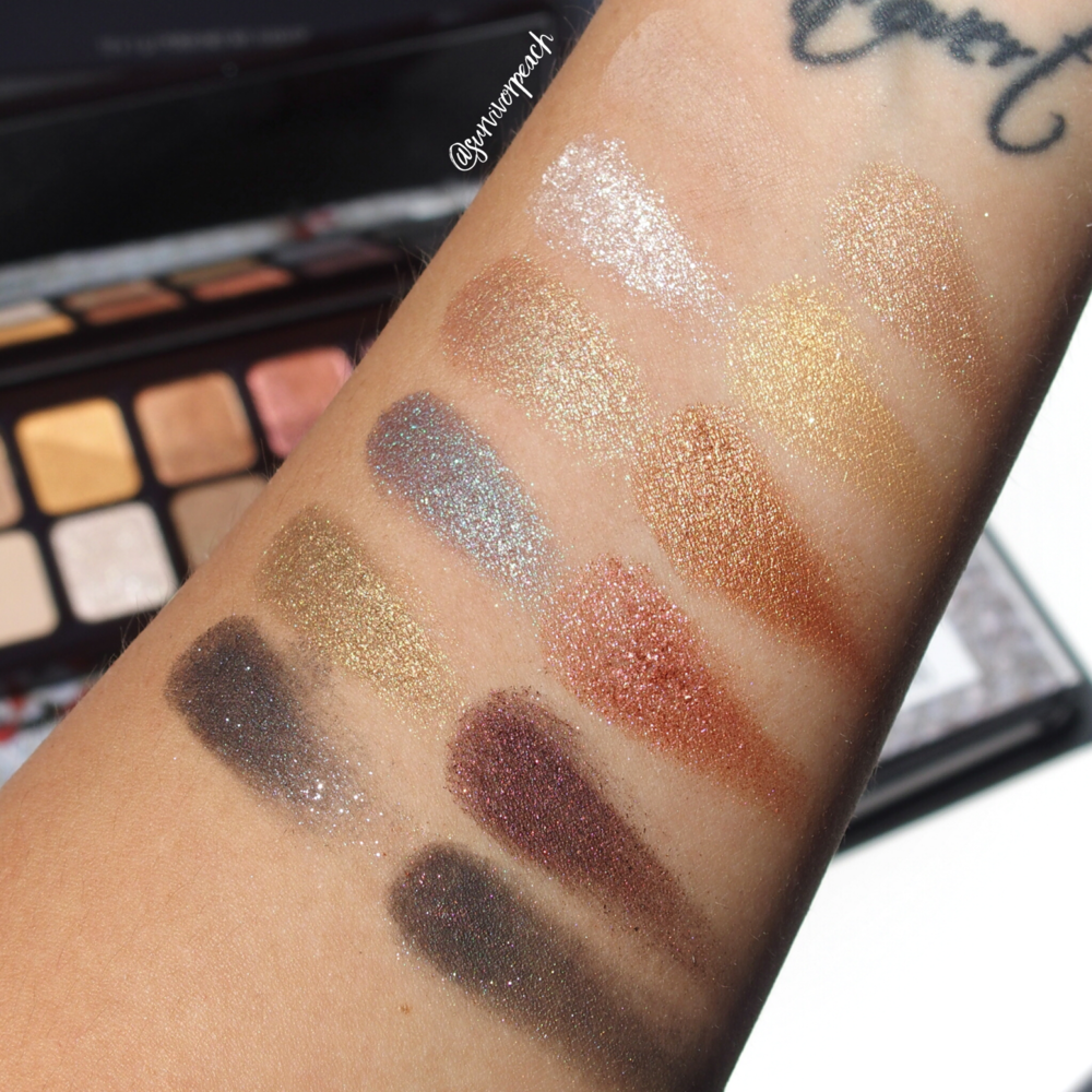 Swatches of the Laura Mercier Hidden Gems palette for Holiday 2018