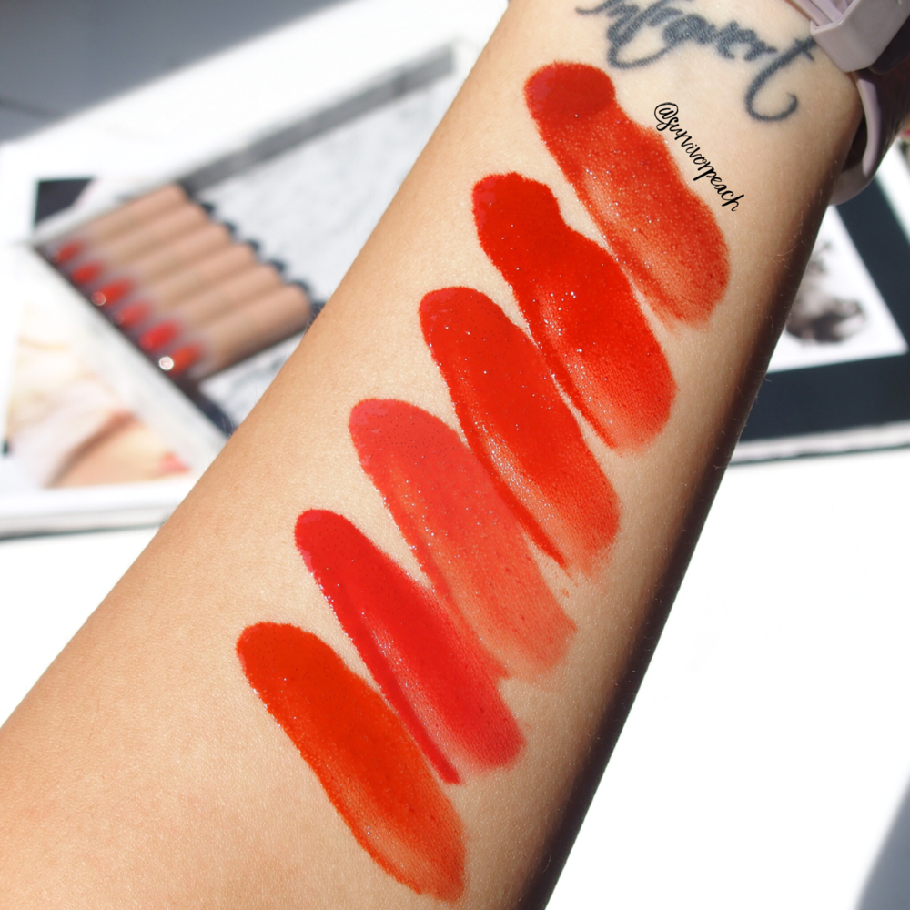 Zenn Cosmetics Glossy Lip Color swatches in Lucky, Meet, You, Oneday, Somewhere, Future