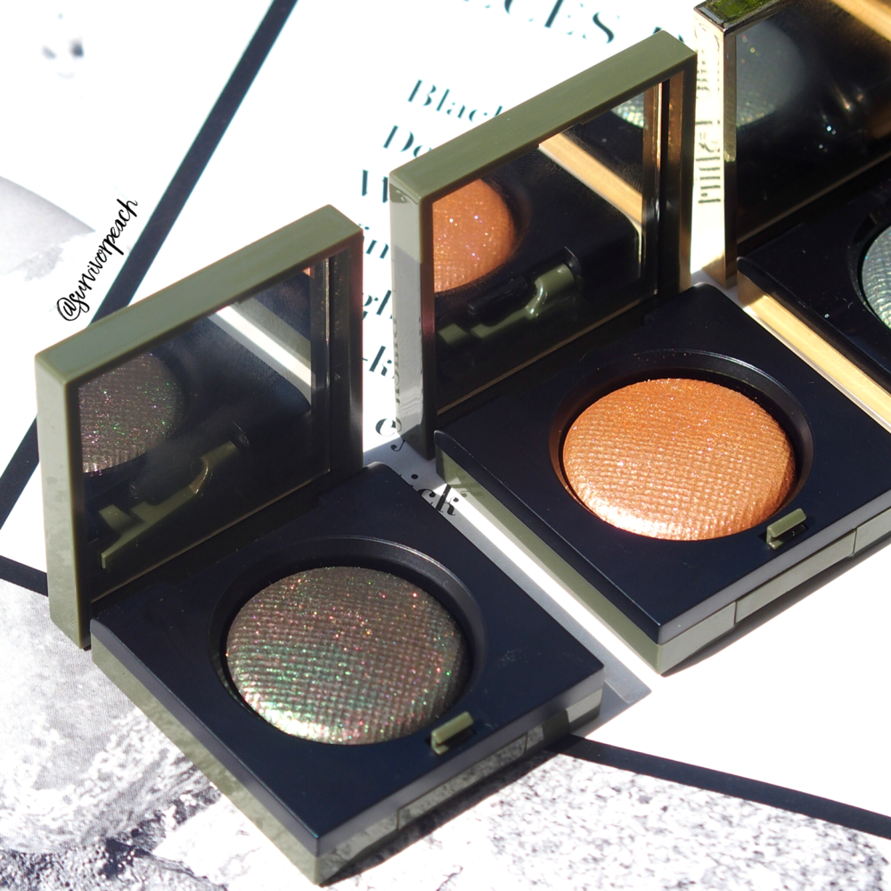 Bobbi Brown Camo Luxe eyeshadow in shades Jungle Shadow and Incandescent