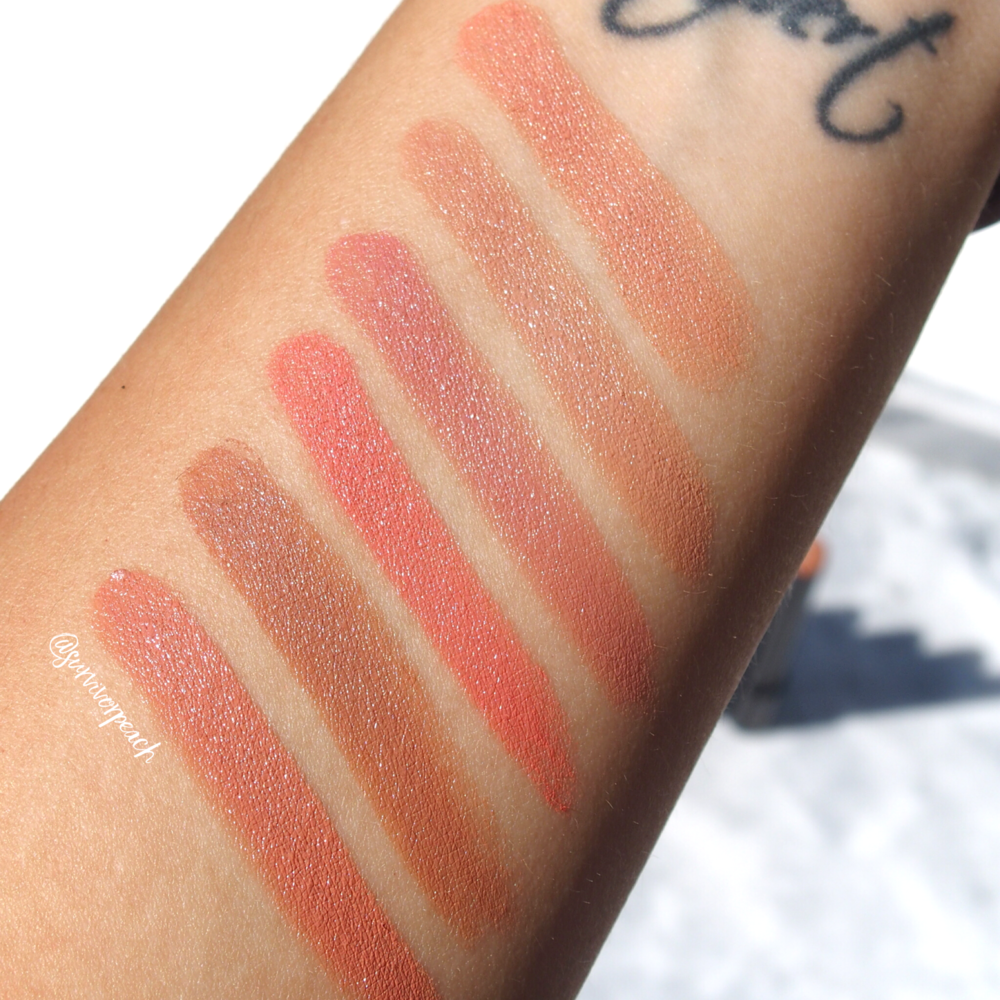 Swatches of the Hourglass Confession Lipsticks in shades I Wish, One Day, The First Time, I Lust For, I'll Never Stop, I've Never