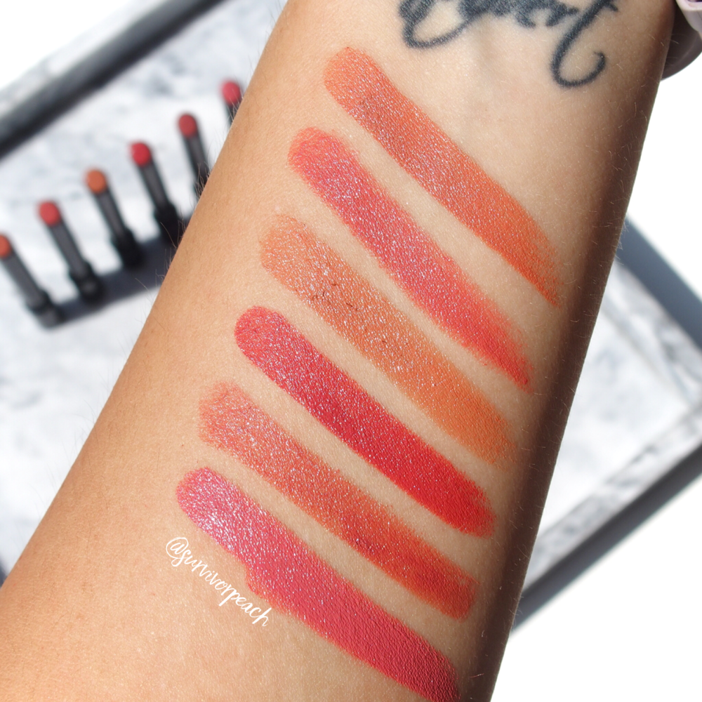 Swatches of the Hourglass Confession Lipsticks in shades I want, I Woke Up, If Only, I'm Addicted, No One Knows, I've Kissed
